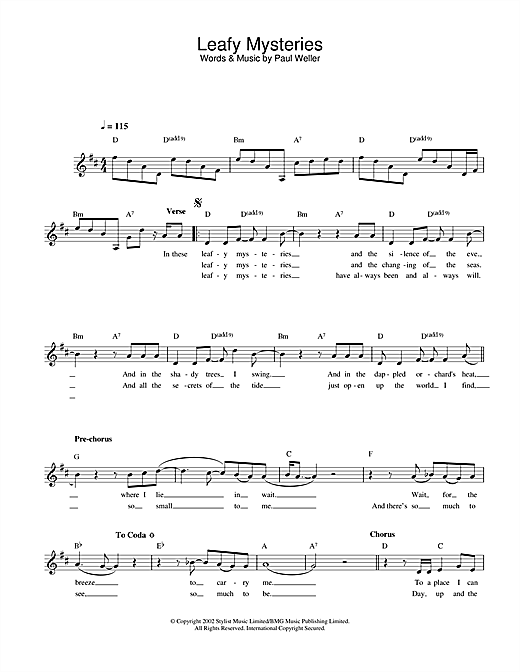 Paul Weller Leafy Mysteries sheet music notes and chords. Download Printable PDF.