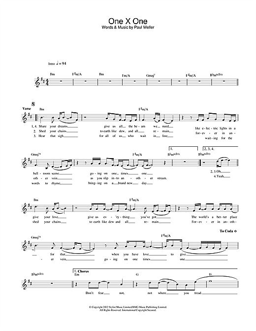 Paul Weller One X One sheet music notes and chords. Download Printable PDF.