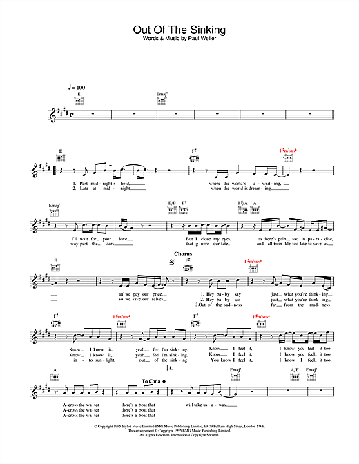 Paul Weller Out Of The Sinking sheet music notes and chords. Download Printable PDF.
