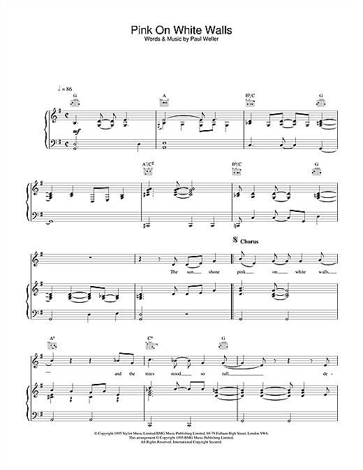 Paul Weller Pink On White Walls sheet music notes and chords. Download Printable PDF.