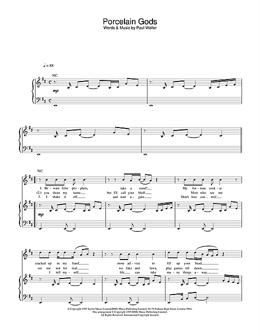 Paul Weller Porcelain Gods sheet music notes and chords. Download Printable PDF.