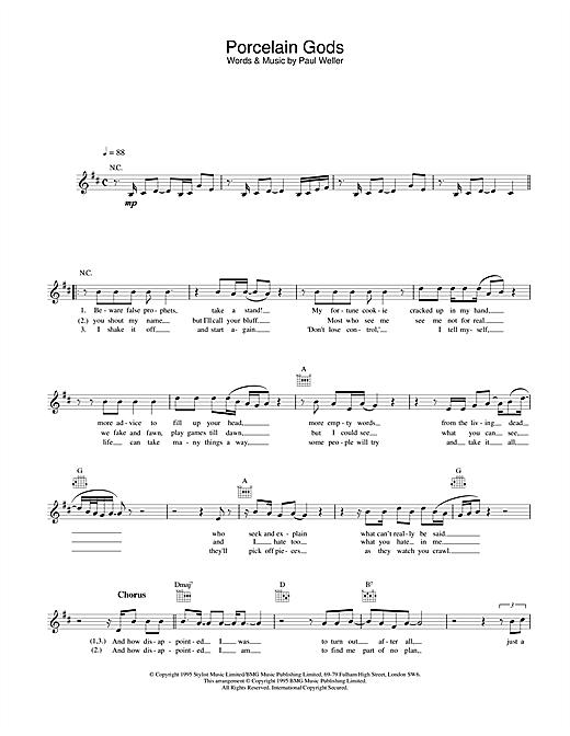 Paul Weller Porcelain Gods sheet music notes and chords. Download Printable PDF.