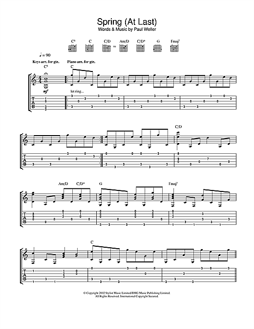 Paul Weller Spring (At Last) sheet music notes and chords
