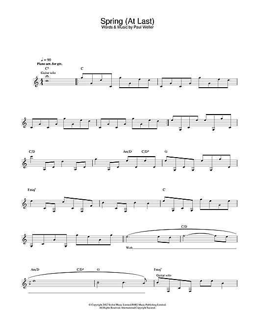 Paul Weller Spring (At Last) sheet music notes and chords. Download Printable PDF.