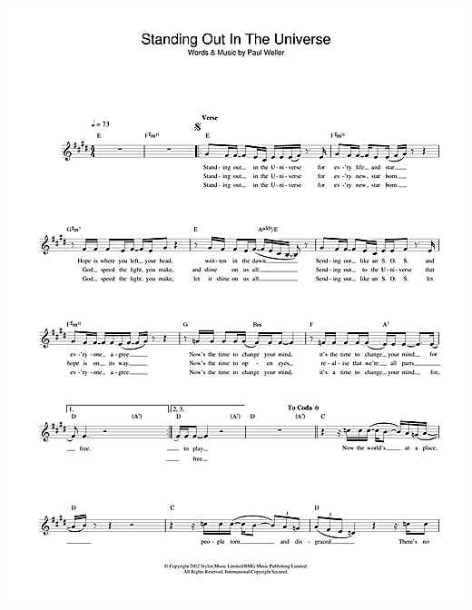 Paul Weller Standing Out In The Universe sheet music notes and chords. Download Printable PDF.