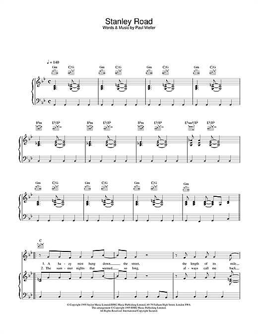 Paul Weller Stanley Road sheet music notes and chords. Download Printable PDF.