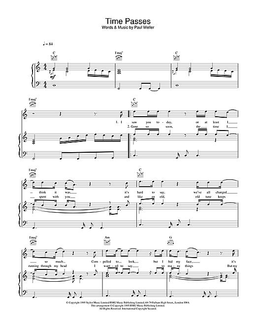 Paul Weller Time Passes sheet music notes and chords. Download Printable PDF.