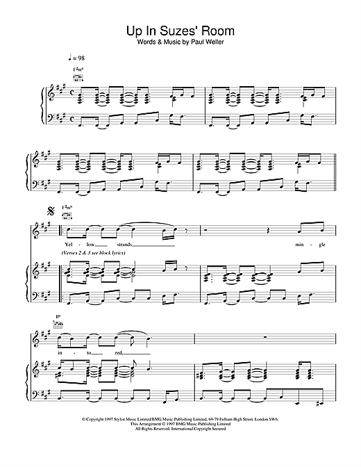 Paul Weller Up In Suzes' Room sheet music notes and chords. Download Printable PDF.