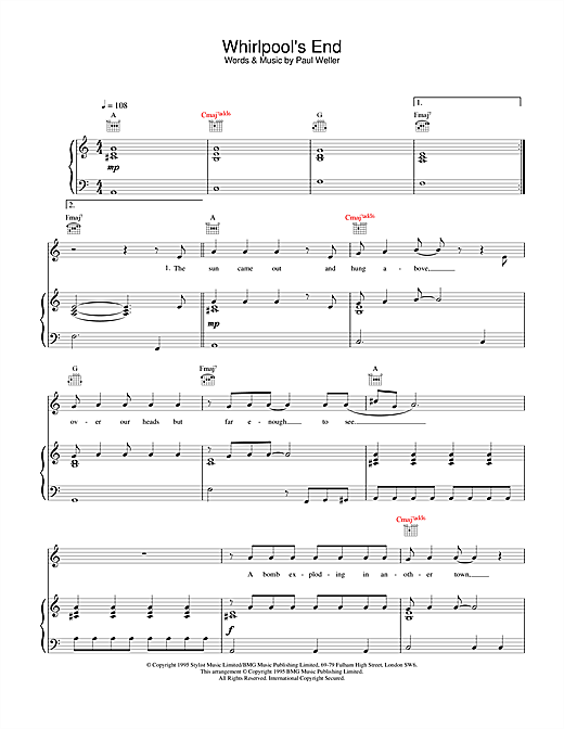 Paul Weller Whirlpool's End sheet music notes and chords