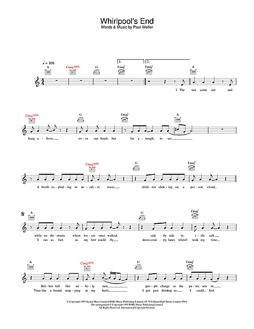 Paul Weller Whirlpool's End sheet music notes and chords. Download Printable PDF.