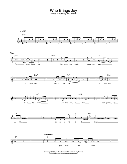 Paul Weller Who Brings Joy sheet music notes and chords. Download Printable PDF.