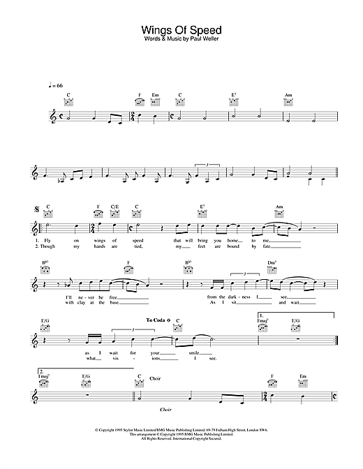 Paul Weller Wings Of Speed sheet music notes and chords. Download Printable PDF.