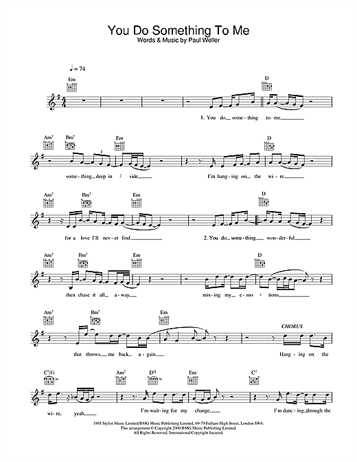 Paul Weller You Do Something To Me sheet music notes and chords. Download Printable PDF.