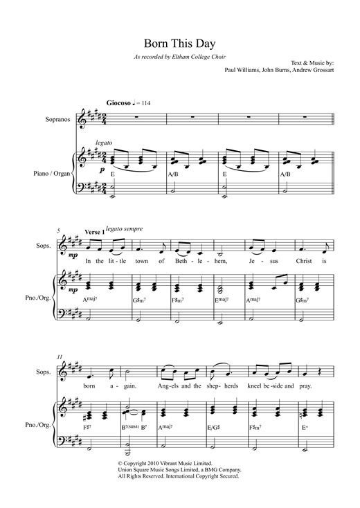 Paul Williams Born This Day sheet music notes and chords