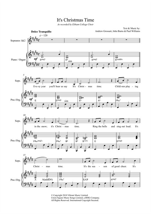 Paul Williams It's Christmas Time sheet music notes and chords. Download Printable PDF.