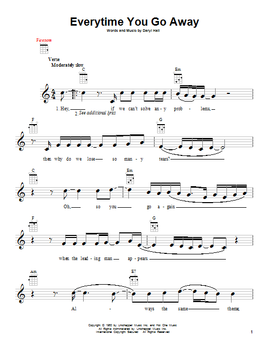 Paul Young Everytime You Go Away sheet music notes and chords. Download Printable PDF.
