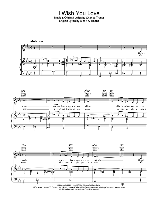 Paul Young I Wish You Love sheet music notes and chords