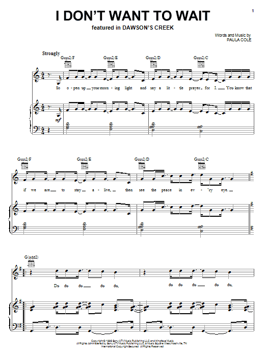 Paula Cole I Don't Want To Wait sheet music notes and chords. Download Printable PDF.