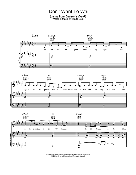 Paula Cole I Don't Want To Wait (theme from Dawson's Creek) sheet music notes and chords. Download Printable PDF.