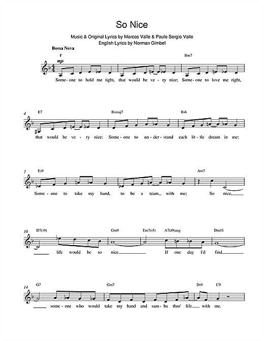 Paulo Sergio Valle So Nice sheet music notes and chords. Download Printable PDF.