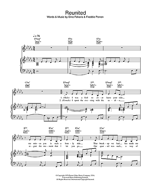 Peaches & Herb Reunited sheet music notes and chords. Download Printable PDF.