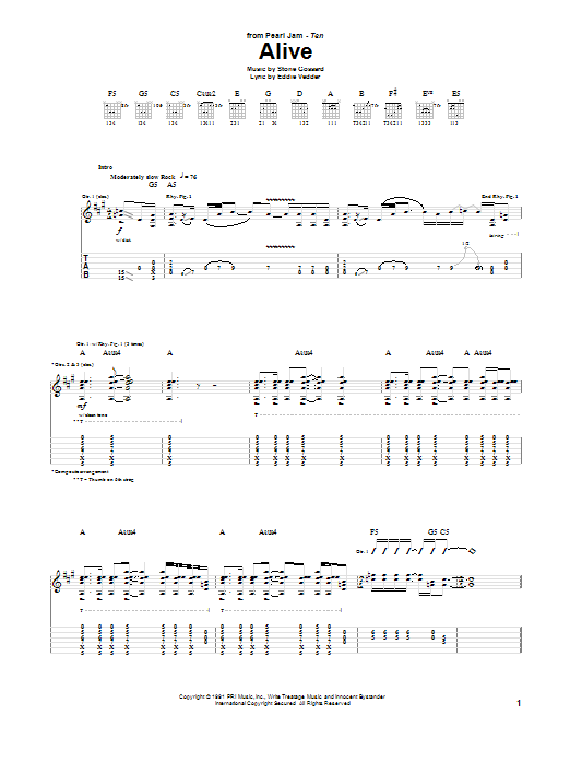 Pearl Jam Alive sheet music notes and chords. Download Printable PDF.