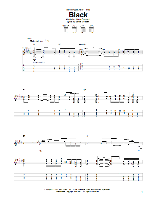 Pearl Jam Black sheet music notes and chords