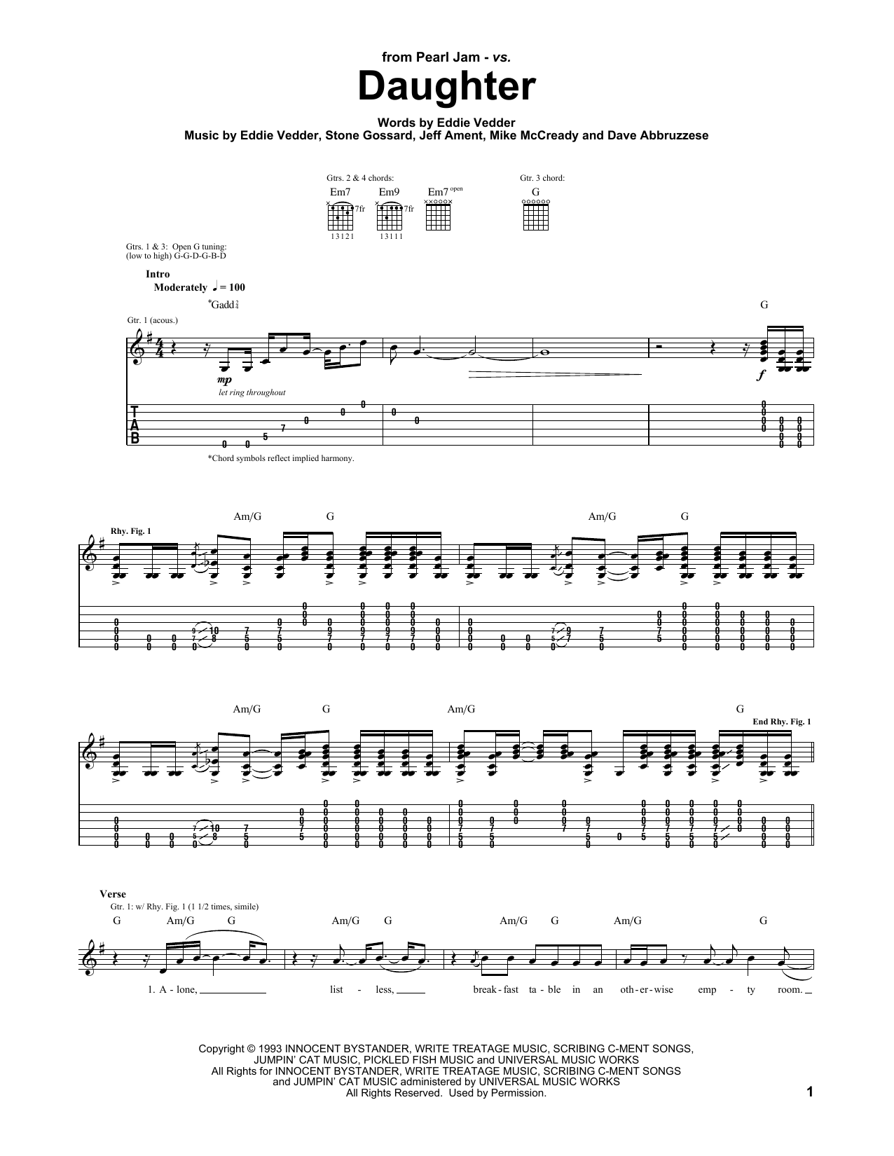 Pearl Jam Daughter sheet music notes and chords. Download Printable PDF.