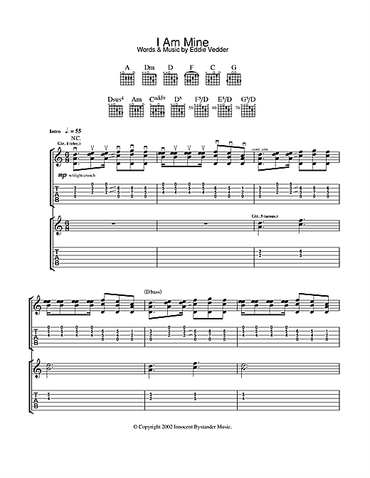 Pearl Jam I Am Mine sheet music notes and chords