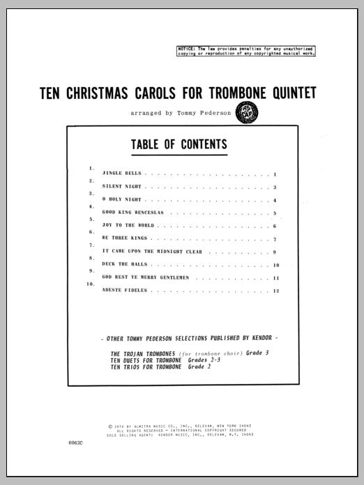 Pederson Ten Christmas Carols For Trombone Quintet - 2nd Trombone sheet music notes and chords. Download Printable PDF.