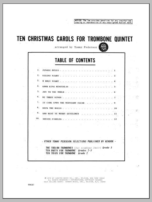 Pederson Ten Christmas Carols For Trombone Quintet - Bass Trombone sheet music notes and chords. Download Printable PDF.