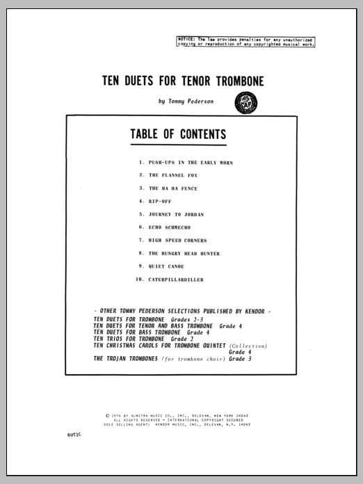 Pederson Ten Duets For Tenor Trombone sheet music notes and chords