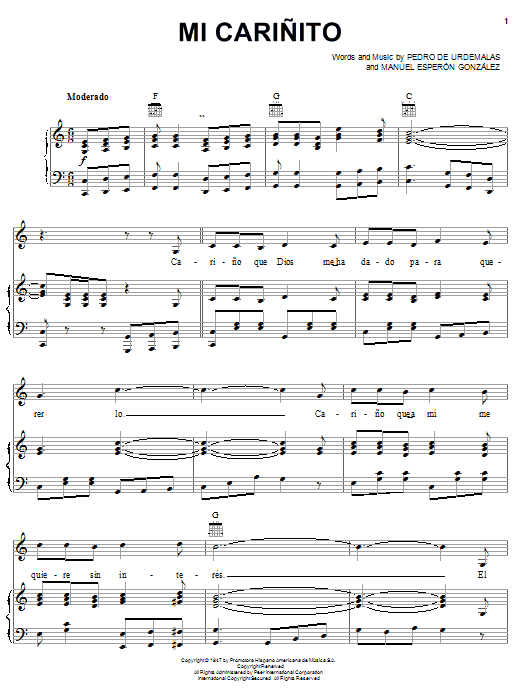 Pedro Fernandez Mi Carinito sheet music notes and chords. Download Printable PDF.