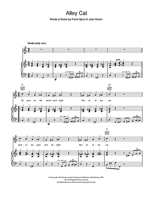 Peggy Lee Alley Cat sheet music notes and chords. Download Printable PDF.