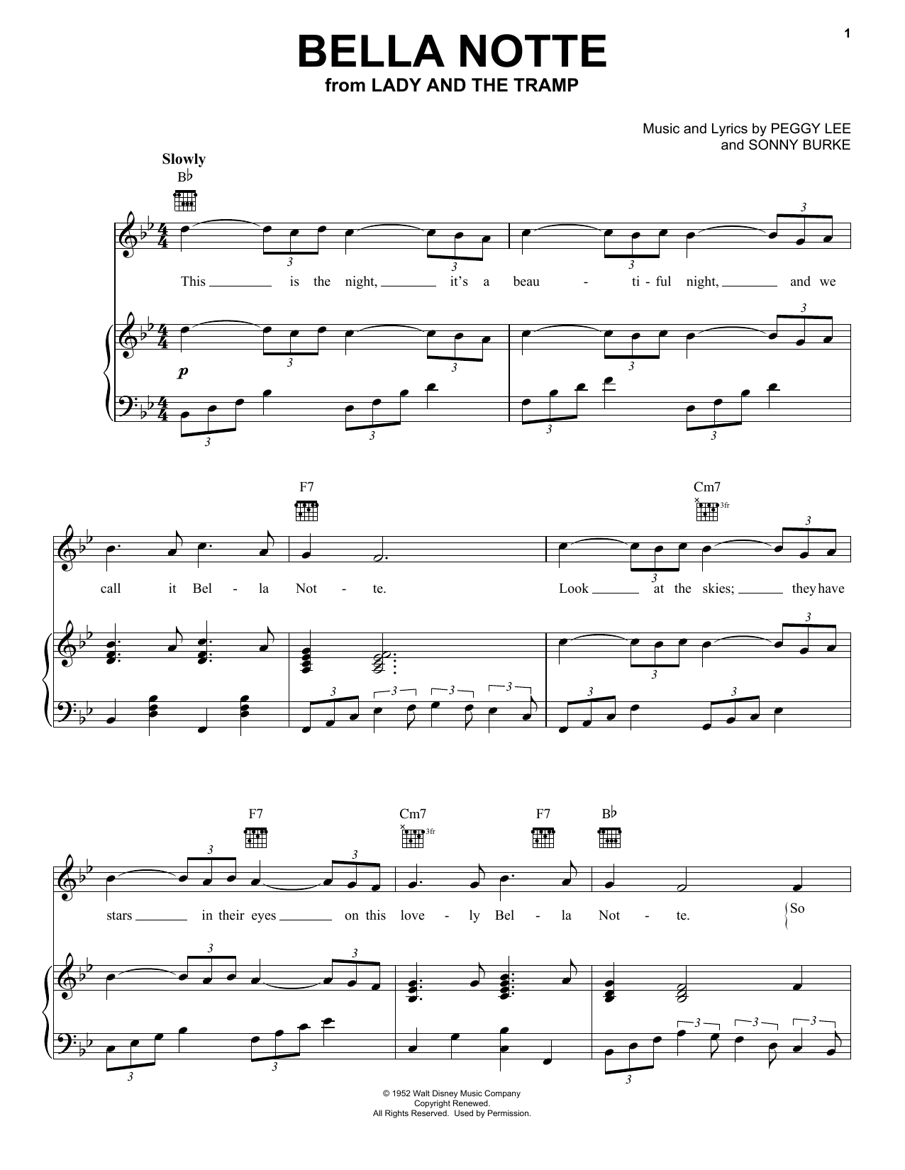 Peggy Lee Bella Notte (This Is The Night) (from Lady And The Tramp) sheet music notes and chords