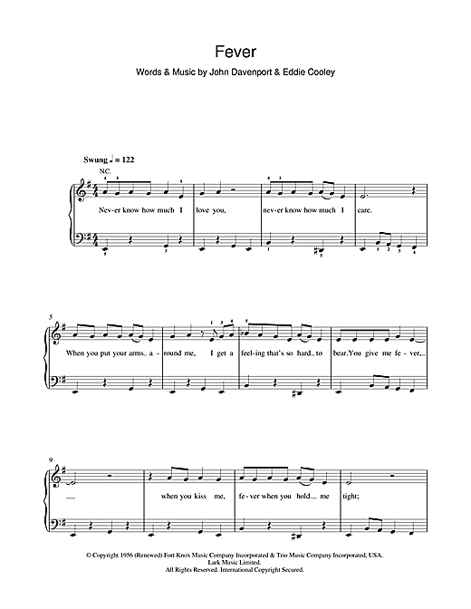 Peggy Lee Fever sheet music notes and chords