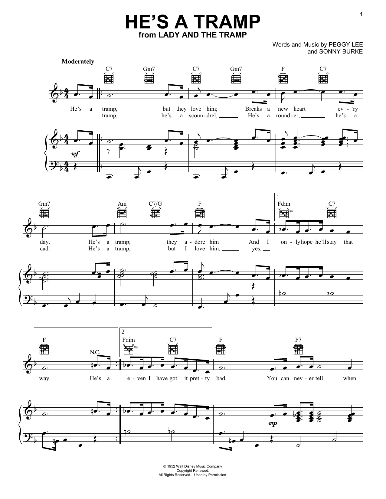 Peggy Lee He's A Tramp (from Lady And The Tramp) sheet music notes and chords