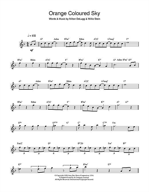 Peggy Lee Orange Coloured Sky sheet music notes and chords. Download Printable PDF.