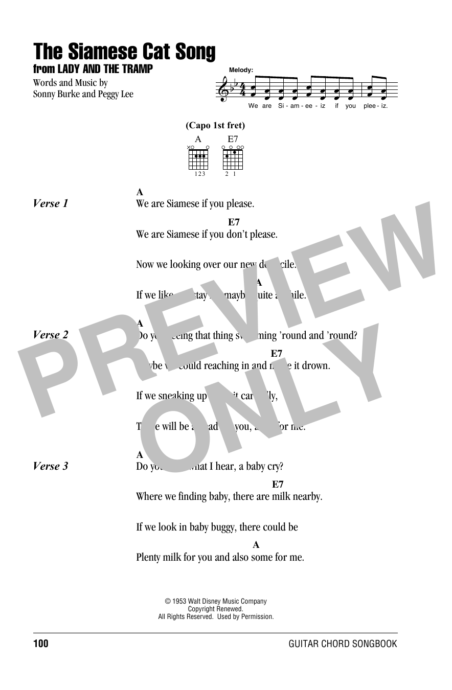 Peggy Lee The Siamese Cat Song (from Lady And The Tramp) sheet music notes and chords. Download Printable PDF.