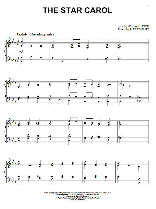 Peggy Lee The Star Carol sheet music notes and chords. Download Printable PDF.
