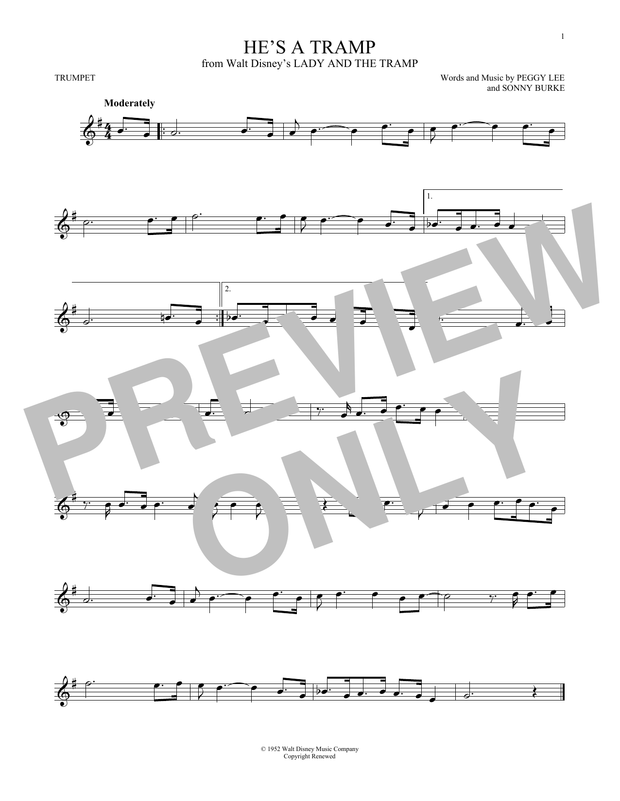 Peggy Lee & Sonny Burke He's A Tramp (from Lady And The Tramp) sheet music notes and chords. Download Printable PDF.