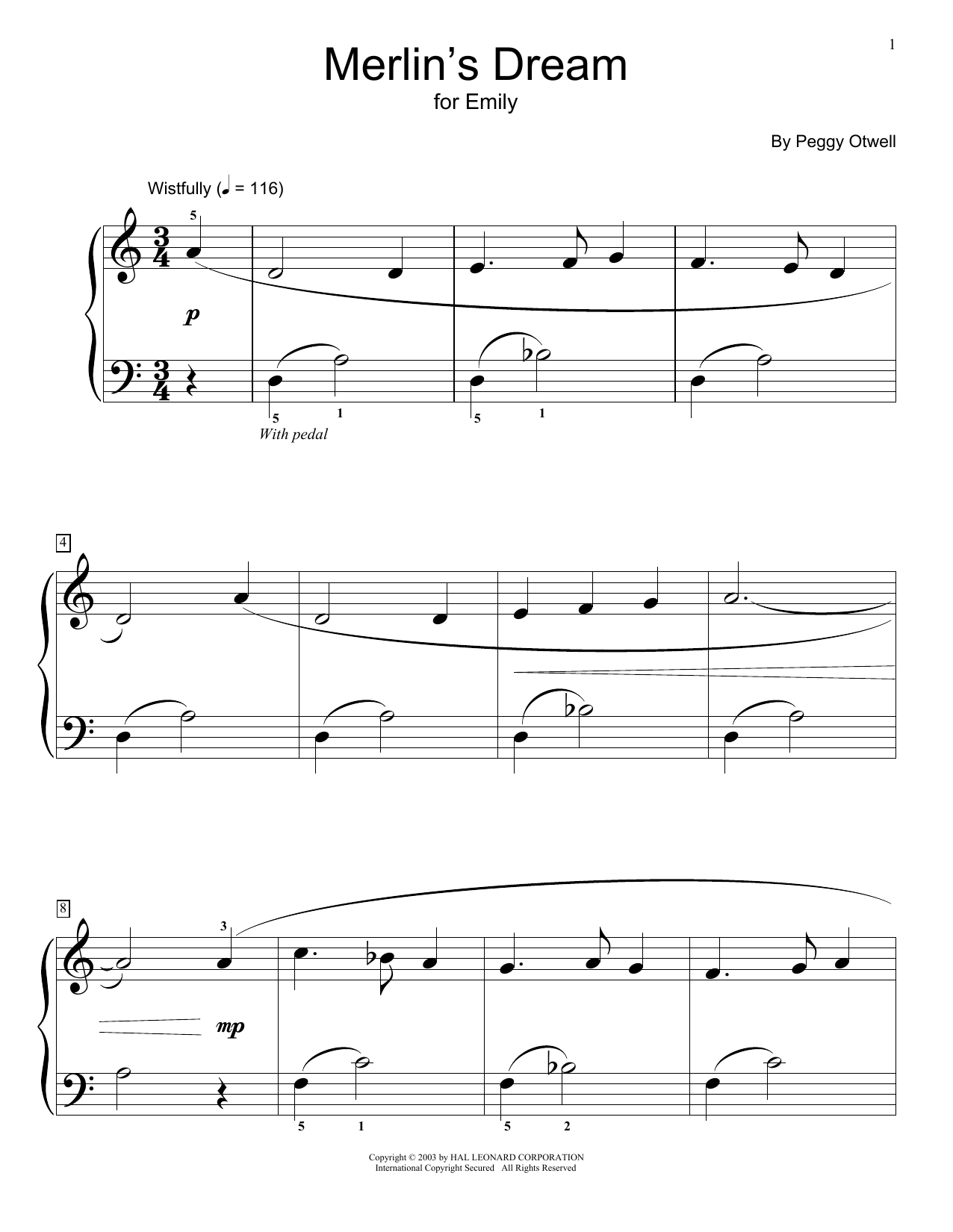 Peggy Otwell Merlin's Dream sheet music notes and chords. Download Printable PDF.