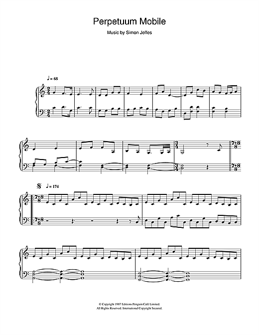 Penguin Cafe Orchestra Perpetuum Mobile sheet music notes and chords. Download Printable PDF.