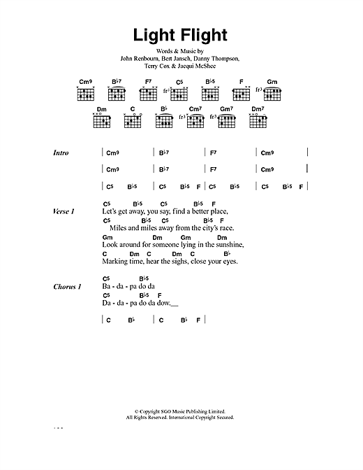 Pentangle Light Flight sheet music notes and chords. Download Printable PDF.