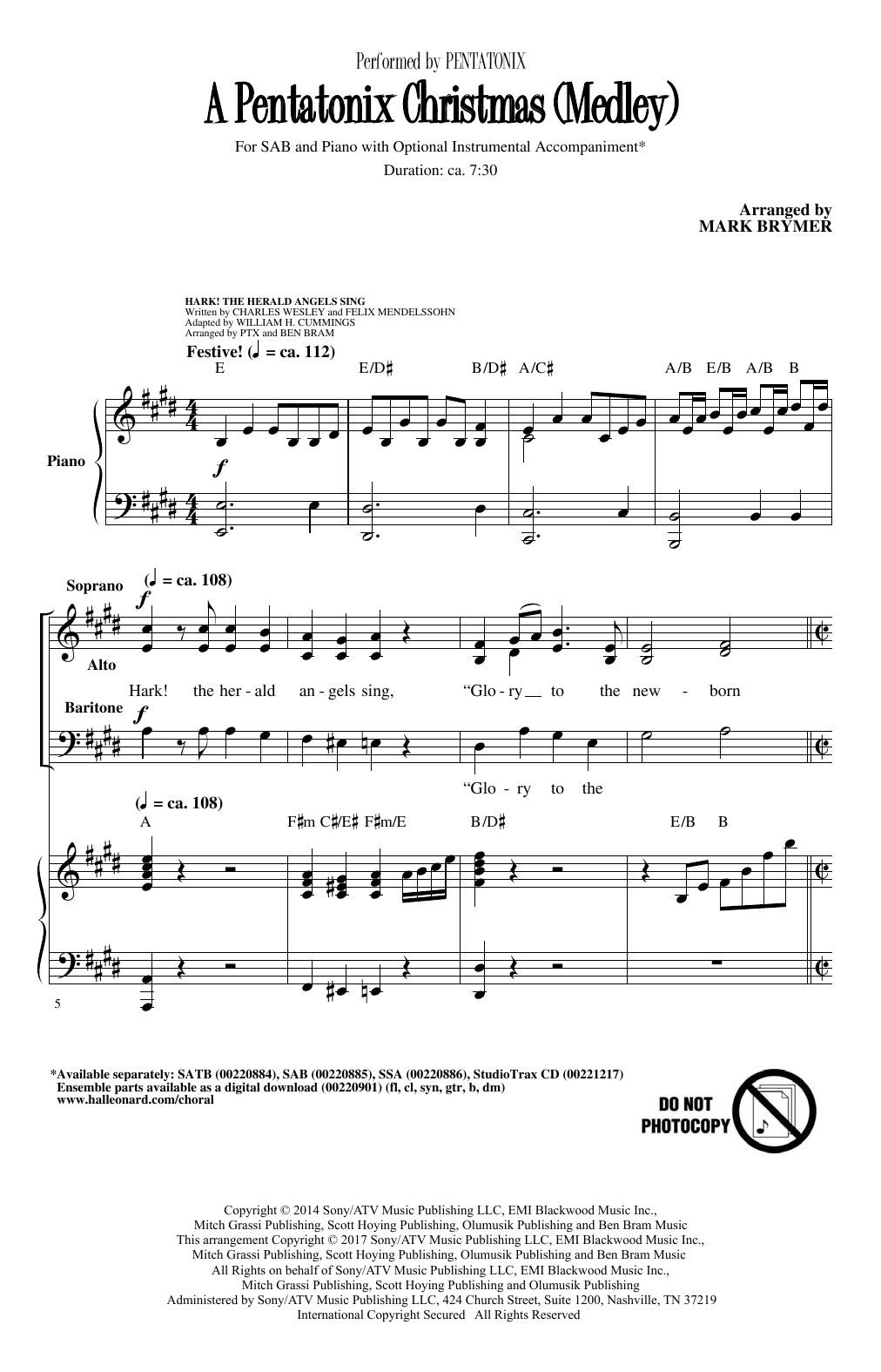 Pentatonix Hark! The Herald Angels Sing (arr. Mark Brymer) sheet music notes and chords. Download Printable PDF.