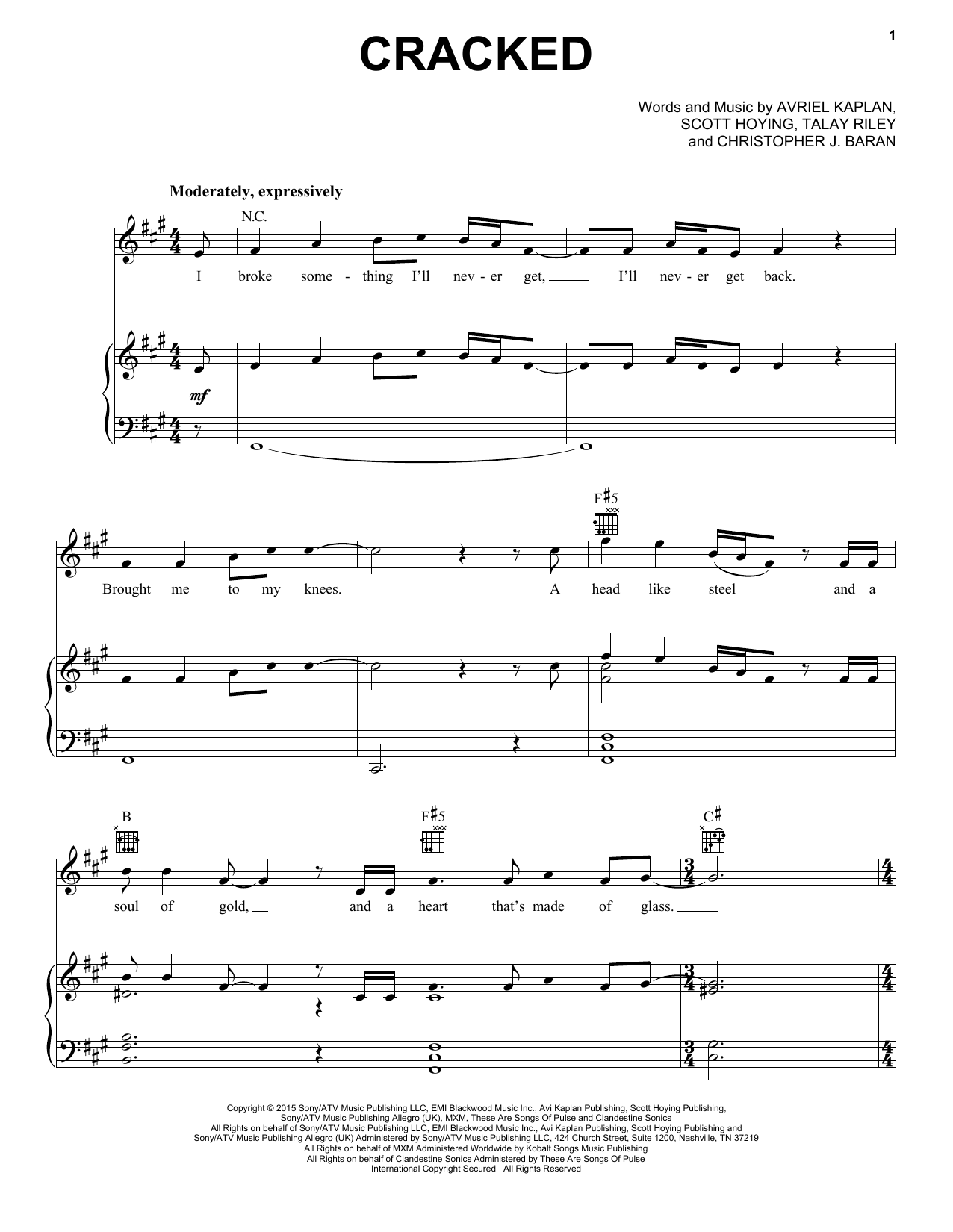 Pentatonix Cracked sheet music notes and chords. Download Printable PDF.
