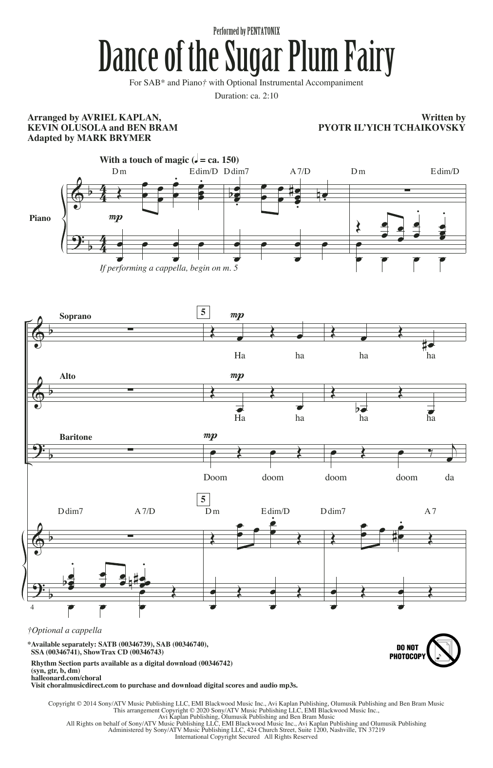 Pentatonix Dance Of The Sugar Plum Fairy (arr. Mark Brymer) sheet music notes and chords. Download Printable PDF.