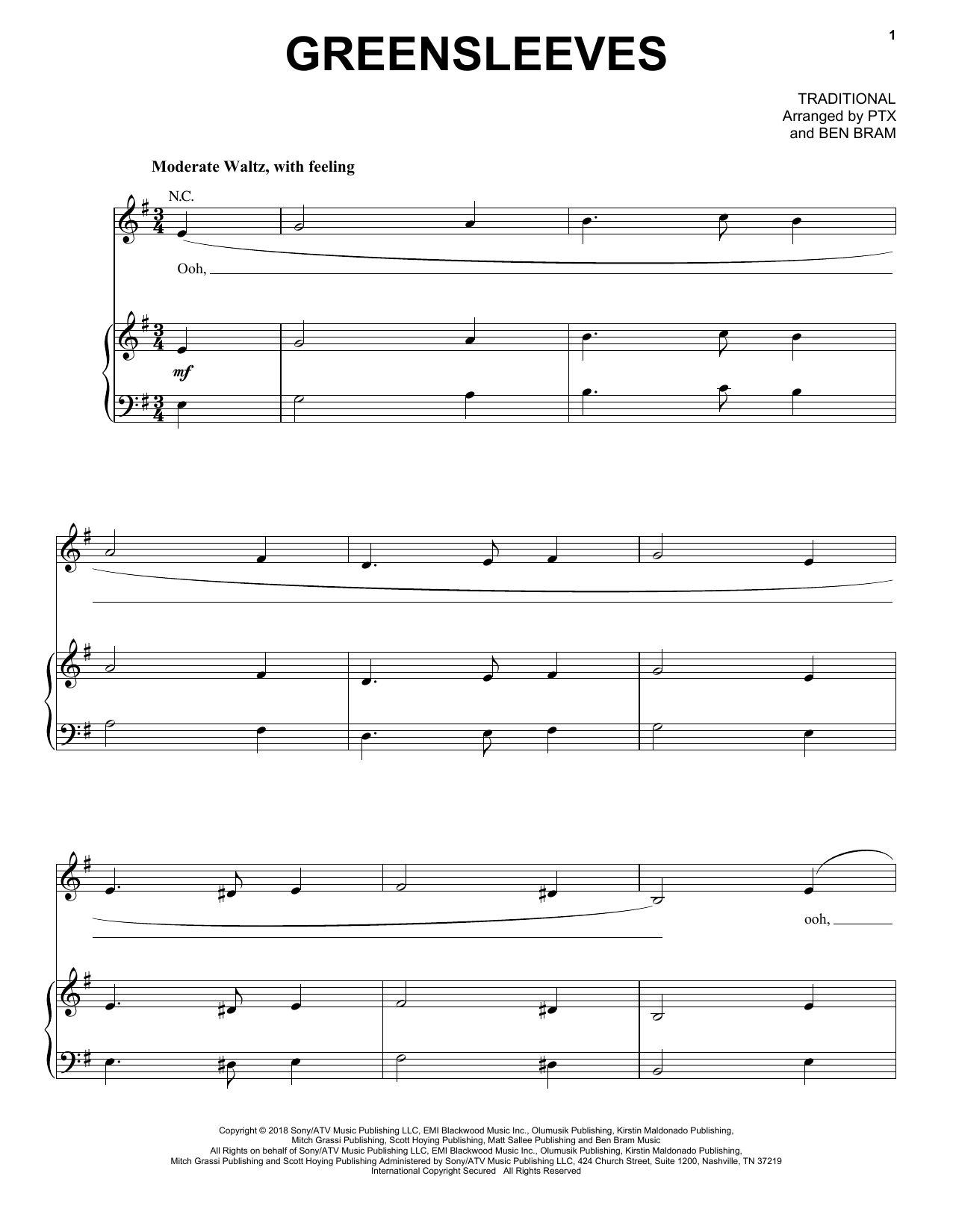 Pentatonix Greensleeves sheet music notes and chords. Download Printable PDF.