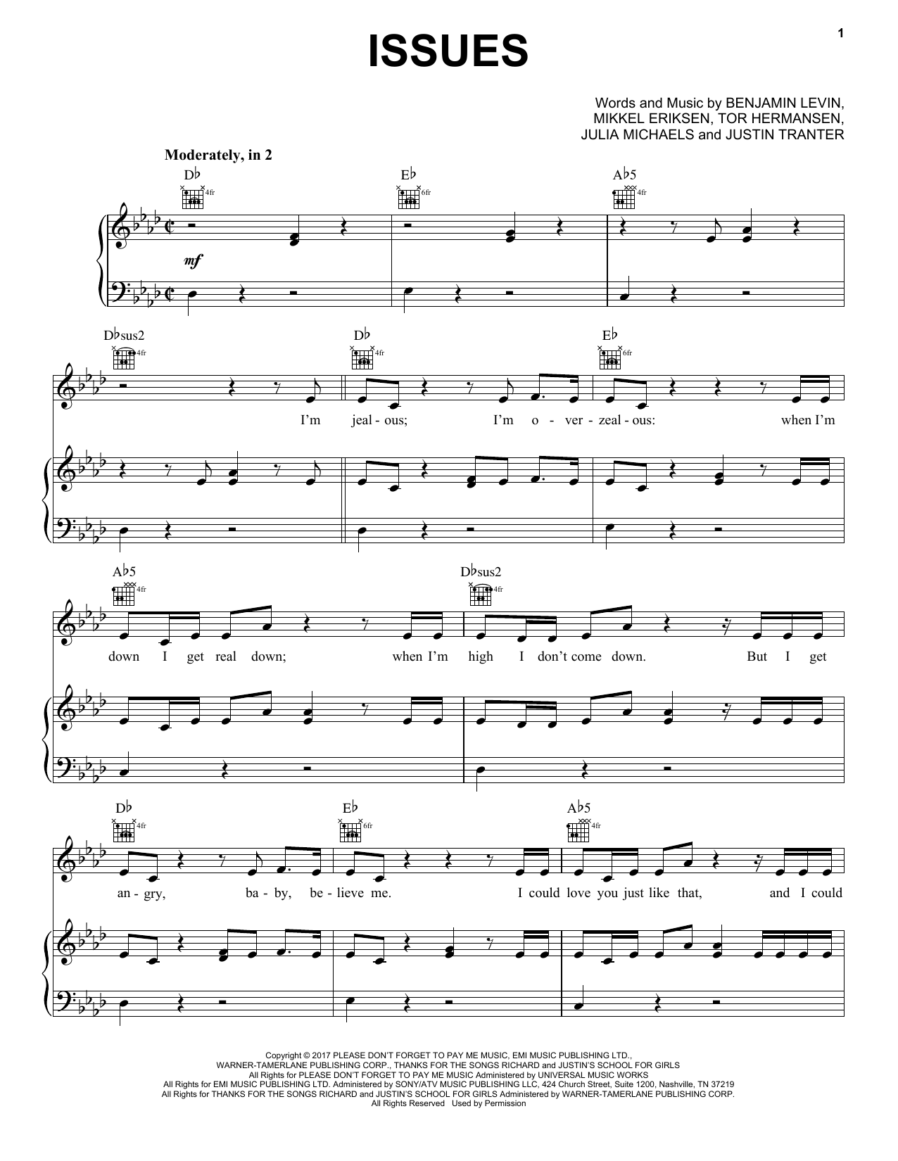 Pentatonix Issues sheet music notes and chords