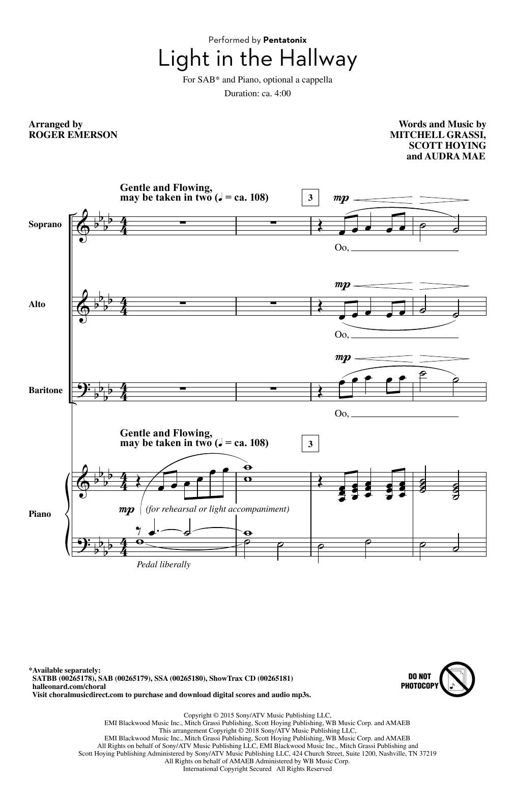 Pentatonix Light In The Hallway (arr. Roger Emerson) sheet music notes and chords. Download Printable PDF.